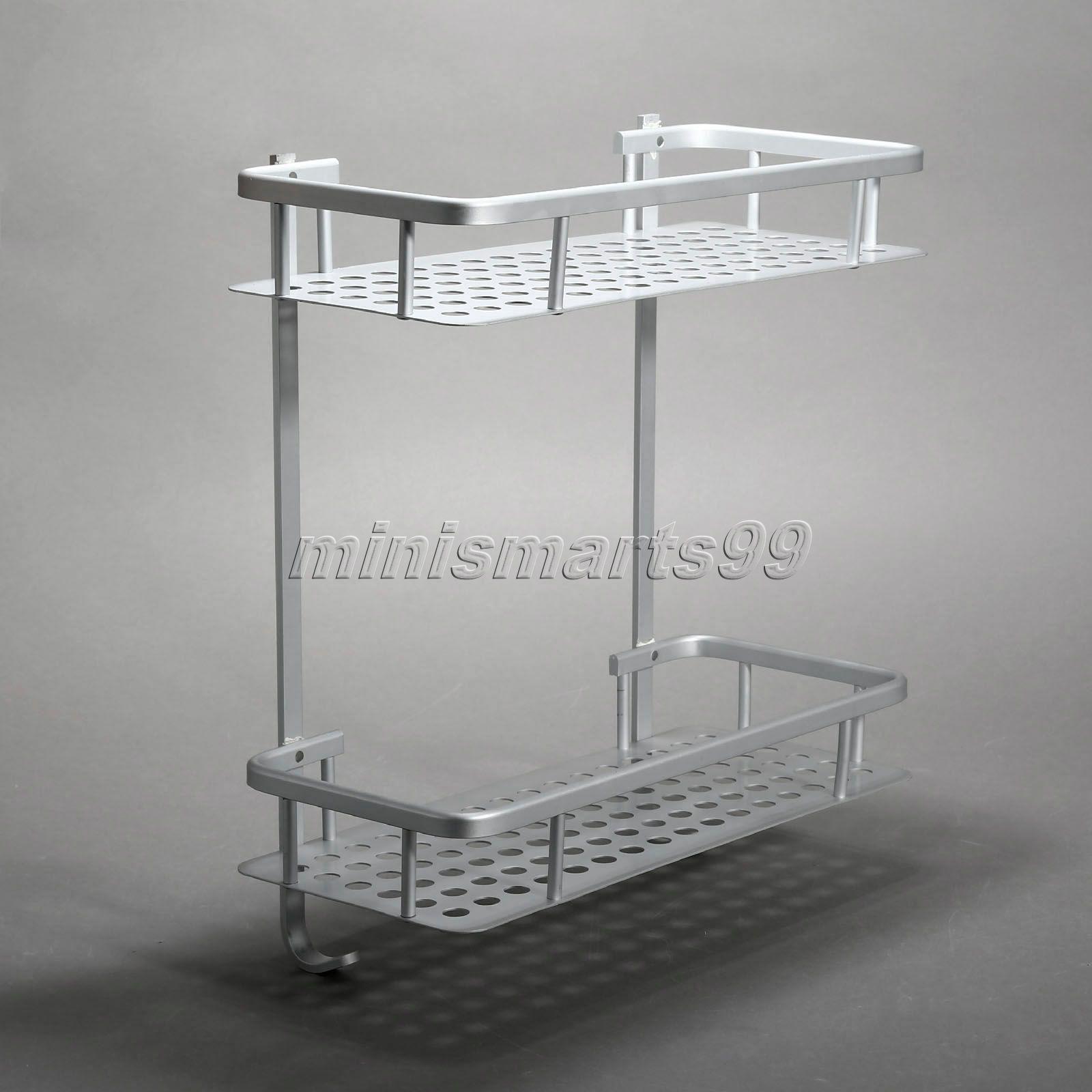 basket item aluminum bathroom shelf rack holder shampoo washing towel accessories bar in double shelves layers hook shower