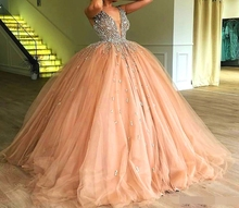 Champagne Tulle Ball Gown Quinceanera Dresses 2019 vestidos robe de bal Elegant Beaded Crystal Deep V Neck Sweet 16 Prom dress