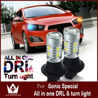 Tcart 1Set Auto Led Car DRL Daytime Running Light Turn Signals Lamp WY21W T20 7440 For