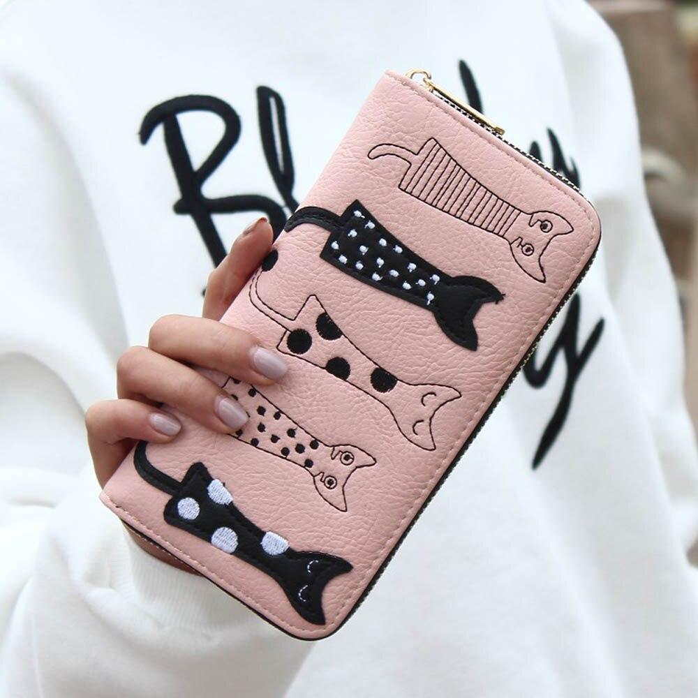 Luxury Cat Design Long Wallet Pink