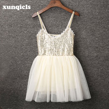 xunqicls Girls Tulle Sequins Dress Kids Party Princess Dresses Back Lace V Neck Birthday Dress Girl Clothing