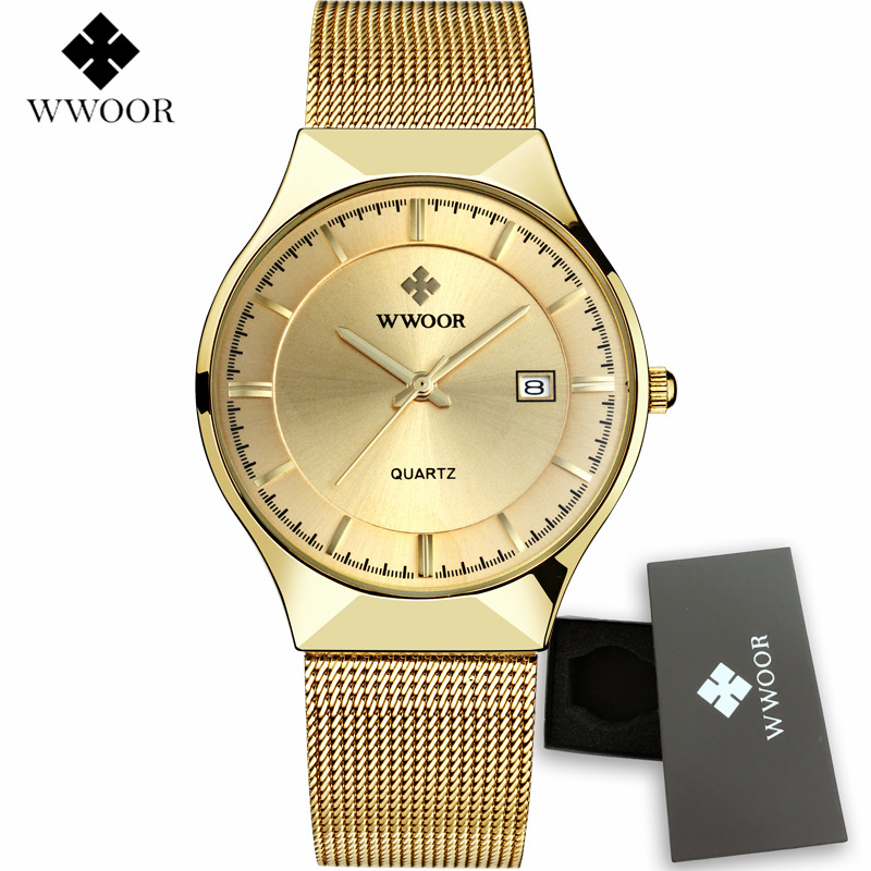 WWOOR Mens Watches Top Brand Luxury Gold Full Steel Quartz Men's Watch 2017 New Fashion Men Watches Male Clock Relogio Masculino new fashion men business quartz watches top brand luxury curren mens wrist watch full steel man square watch male clocks relogio