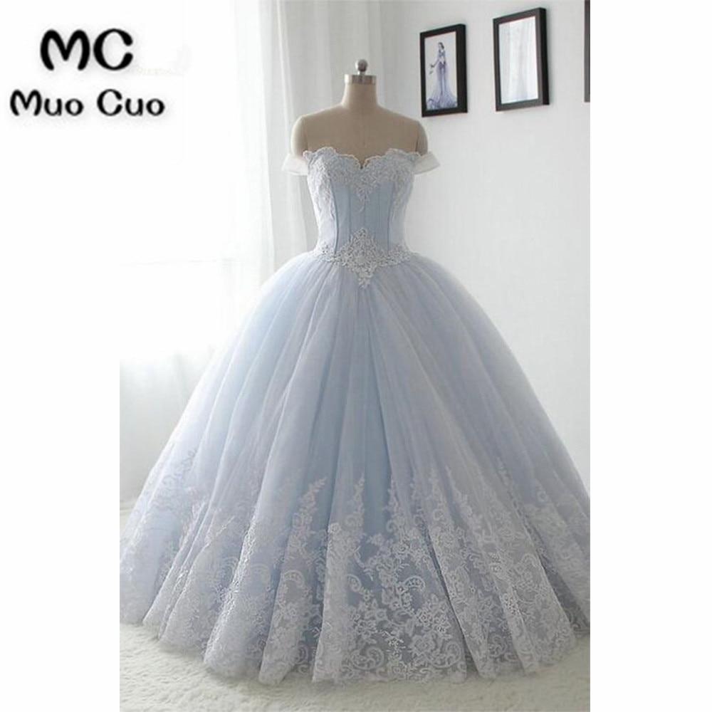 Elegant 2018 Off Shoulder Prom Dresses Long Ball Gowns Light Blue Lace Vestido Longo Organza Formal Evening Party Dress