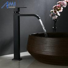 אחת קר ברז שחור צבע אמבטיה פעולה אגן ברז גבוהה ברזי 304 נירוסטה