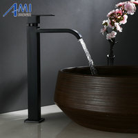 Amibronze Single Cold Faucet Black Paint Operation Bathroom Basin Tap High Faucets 304 Stainless Steel