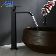 Single Cold Faucet Black Paint Operation Bathroom Basin Tap High Faucets 304 Stainless Steel