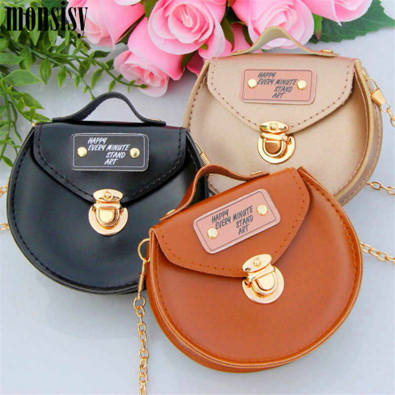 1e427474265d2 ... Monsisy Kid Coin Purse Girl Chain Crossbody Bag PU Leather Small  Messenger Bag Children Round Flap ...