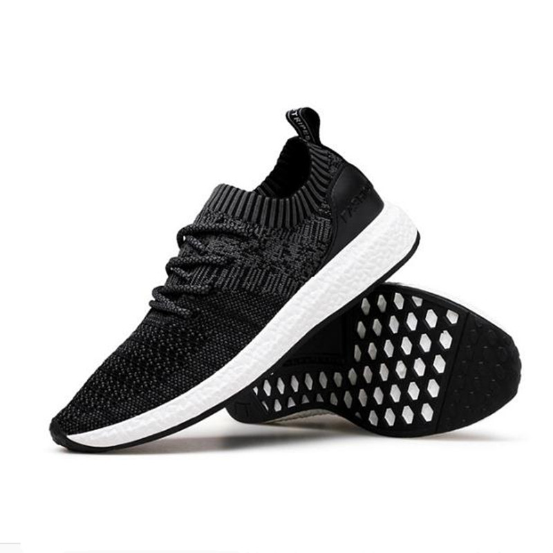 2018 spring new fashion mens shoes flying line knitted breathable casual shoes Male sneakers fitness shoes huarche