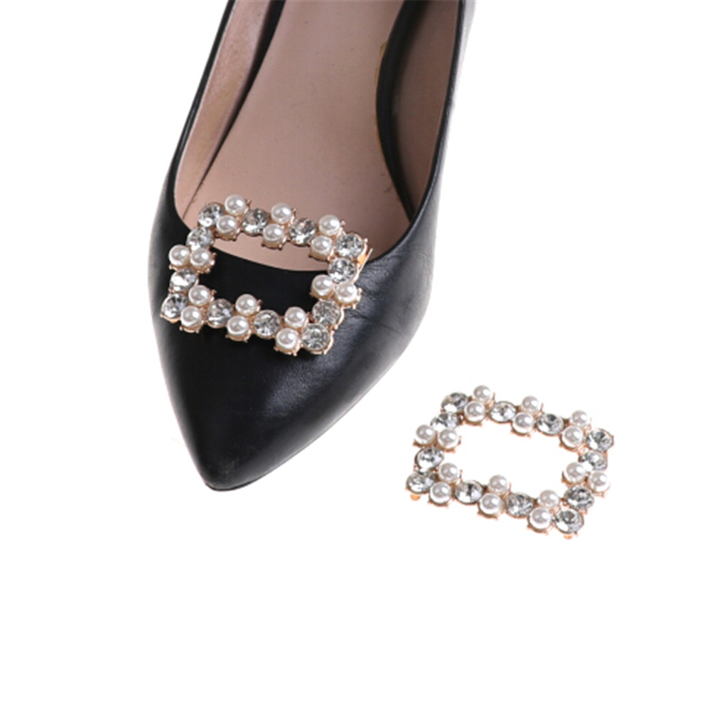 1PC Crystal Rhinestones Charm Faux Pearl Shoe Clips Bridal Shoes Rhinestone Clip Buckle Shoe Decorative Accessories stylish rhinestones faux pearl lace flower shape embellished baseball cap for women