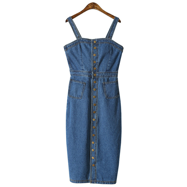 2018 Summer Women Causal Denim Dress Sundress Single-Breasted Buttons Blue Sexy Backless Bodycon Slip Jeans Dresses