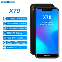 Face Unlock DOOGEE X70 Smartphone 5.5'' U Notch 19:9 MTK6580 Quad Core 2GB RAM 16GB ROM Dual Camera 8.0MP Android 8.1 4000mAh