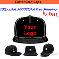 Whosale 100PCS/LOT 500USD Free Shipping Hat Designs Embroidery Logo Custom Snapback Baseball Caps Teams' Hats for Adult Kids