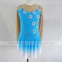 Figure Skating Dress Women's Girls' Ice Skating Dress High elastic spandex fabric Sky blue A gradient skirt Beautiful flowers