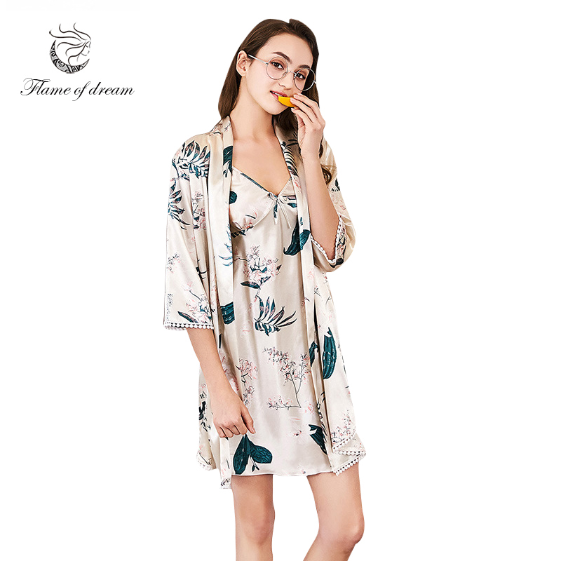 Robes For Women Silk Nightgown 2 Pieces Robe Women Robe 8653 ...