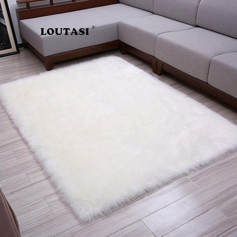 LOUTASI Hairy Carpets 2018 New Sheepskin Plain Fur Skin Fluffy Bedroom Faux Mats Washable Artificial Textile Area Square Rugs Carpet     - title=