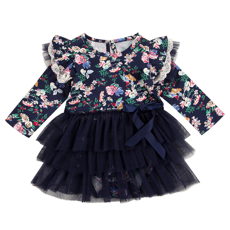 Autumn Hot Girl Dress Newborn Baby Girls Long Sleeve Romper Tutu Floral Dress 2017 New Arrival Baby Girls Clothes Outfit 0-18M