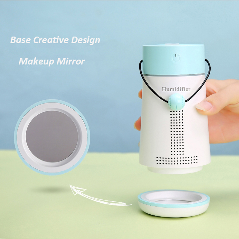 200ML 5 In 1 Colourful Backlight Humidifier With Mini Fan USB Lamp Make Up  Mirror Base Message Board For Home Office