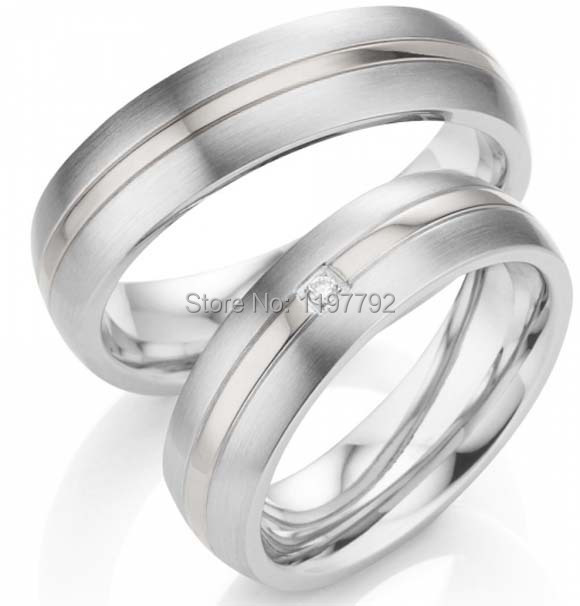 2014  custom tailo white gold color  titanium steel engagement wedding ring sets for couples2014  custom tailo white gold color  titanium steel engagement wedding ring sets for couples