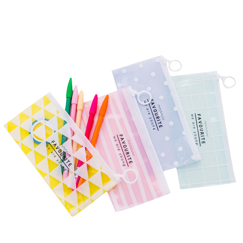 1 Pieces Cute Simple Style Flat Pull Bag Translucent Series Pencil Bag School Stationary Receive Makeup Pouch Cosmetics Case