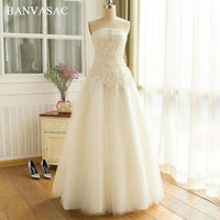 BANVASAC 2017 New A Line Elegant Embroidery Strapless Wedding Dresses Beadings Sleeveless Flower Satin Lace Bridal