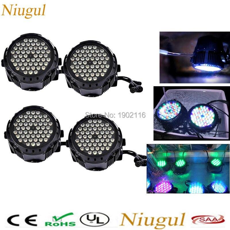 4pcs/lot  High Quality IP65 Outdoor LED Par 54X3W RGBW LED Stage Light/ 180W Waterproof LED Flat Par Cans With DMX512 110-240V