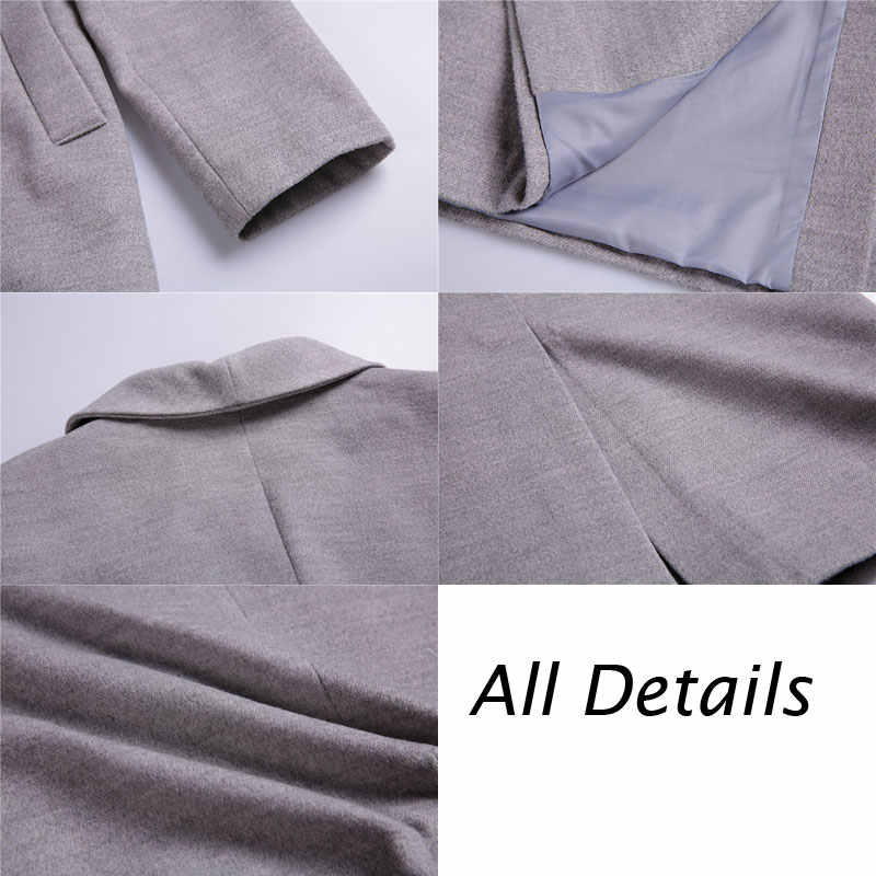 Женское шерстяное пальто-Тренч, простое длинное пальто макси с поясом на осень и зиму 2020
