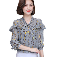 The Autumn Of 2017 New Women Tops Casual Stand Collar Chiffon Blouse with Long Sleeved Temperament Floral Print Ruffles Shirt