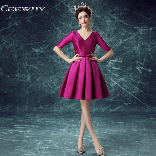CEEWHY 2018 Half Sleeves Special Occasion Dresses Purple Elegant Short  Evening Dress A-Line Short Party Dress Vestido de Festa dbf85157a5cf