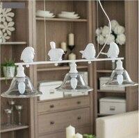 Nordic iron art white iron bird pendant light restaurant garden dining room lamps