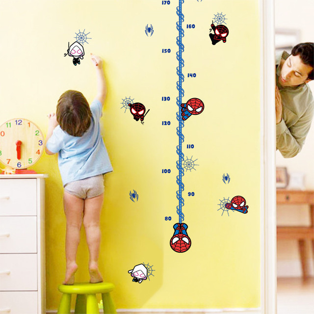 Cartoon spiderman height measure wall sticker for kids rooms ...