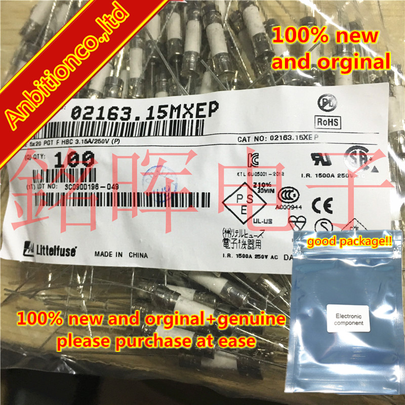 20pcs 100% New And Orginal Double Cap And Foot Ceramic Safety Tube 5x20MM 3.15A 250V 02163.15MXEP  In Stock