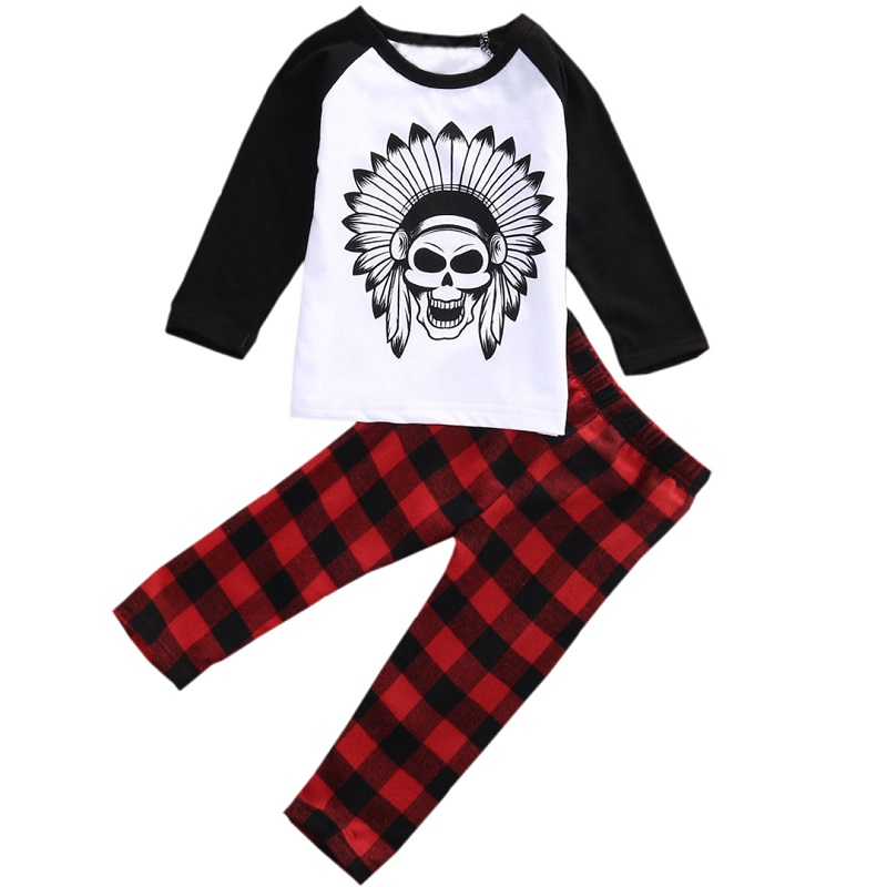 Autumn Baby Boy Clothes Newborn Toddler Infant Cotton Halloween Skull Boys Sets Long Sleeve Tops&Plaid Pants Casual Outfits Set