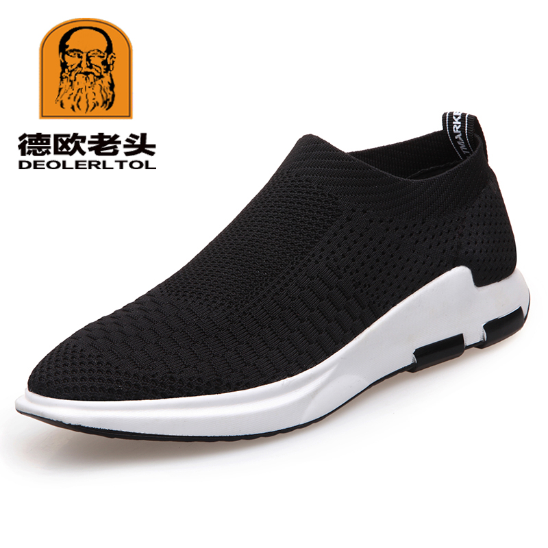 2019 New Man Flyknit Shoes Anti-slip Casual Shoes Black Soft Spring Youth Leisure Sneaker Shoes black casual shoes