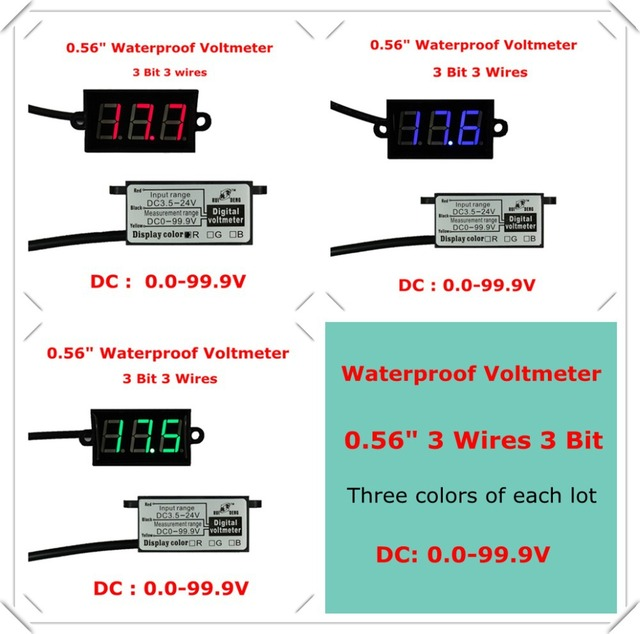 rd waterproof 0 56 digital voltmeter dc0 0 100v 3 wires voltage rh aliexpress com Hot Rod Wiring For Dummies 4 Position Selector Switch Wiring Diagram