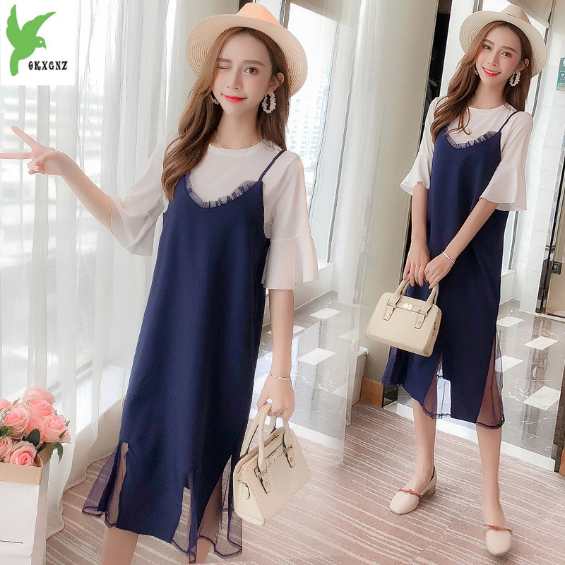 76065f3af82 Plus Size Women s Dresses Summer Chiffon Thin Dre8sses Two-piece Strap  O-Neck Fashion Dresses Korean Loose Bell Sleeve Dresses
