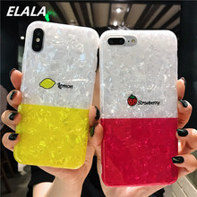 Elala Glossy Marble Case For iPhone 6S 7 8 Plus X Xs Max XR Silicon Pattern Soft TPU Fresh Funny Cover 6 Cases