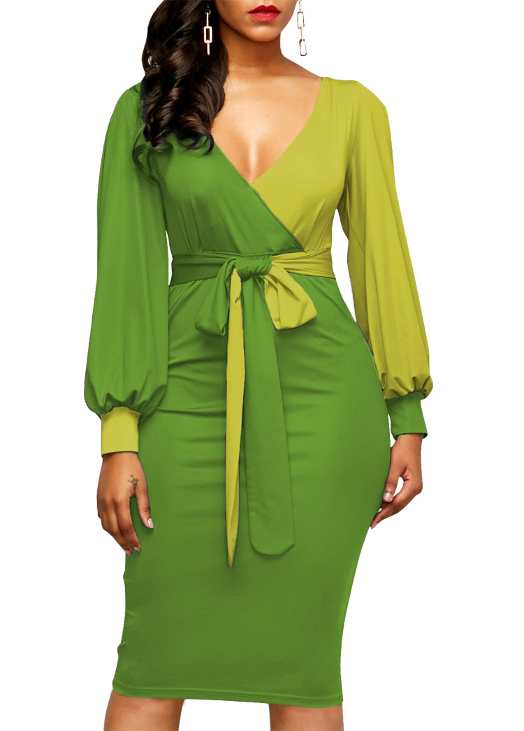 43486cb99a7 2018 Belted Color Block Lantern Sleeve Sheath Dress-in Dresses from ...