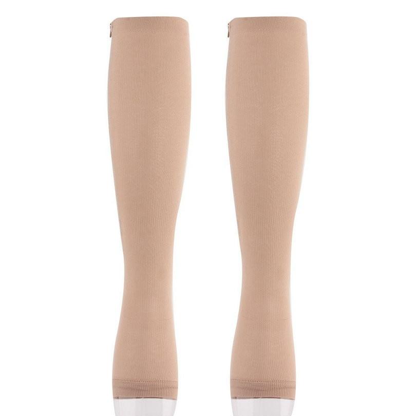 HTB17r88xDJYBeNjy1zeq6yhzVXaE - Unisex Open Toe Compression Socks Knee Length Zipper