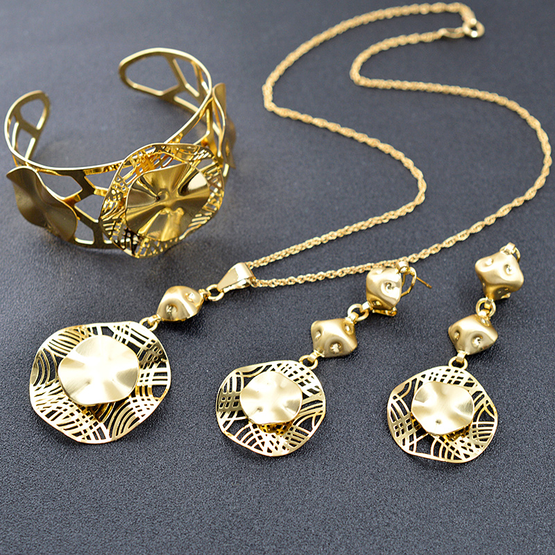 Sunny Jewelry Fashion Jewelry 2018 Necklace Earrings Pendant Jewelry Sets For Women Clock Hollow Out For Party Wedding Daily a suit of fashionable zircon inlaid hollow out necklace and earrings for women