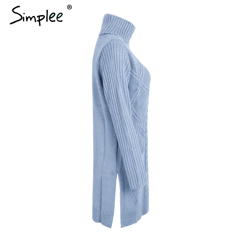 Simplee Turtleneck high split knitting pullover Autumn winter long sleeve leisure sweater dress women pull streetwear jumper 13