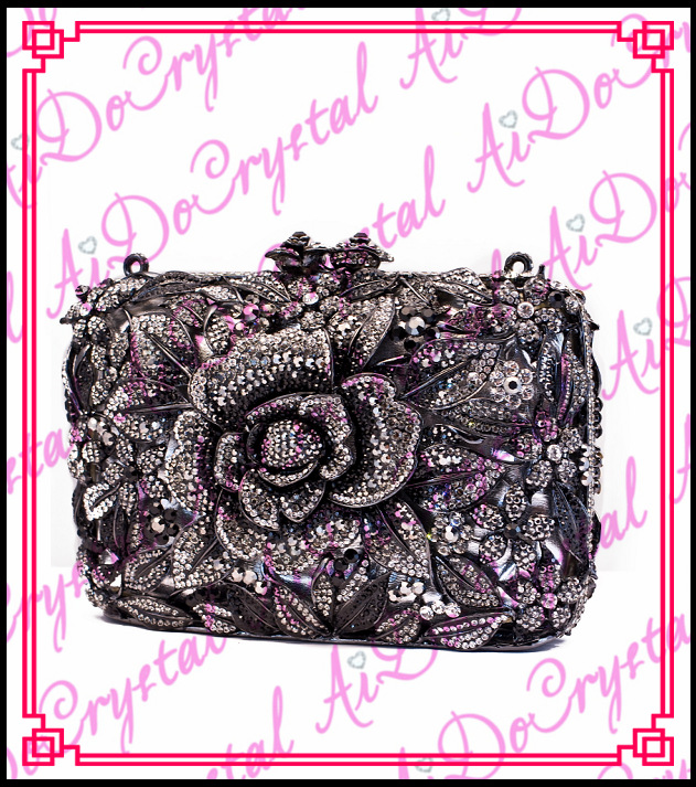 Aidocrystal best selling big flower pattern handle clutch font b bag b font for party