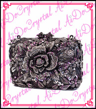 Aidocrystal best selling big flower pattern handle clutch bag for party