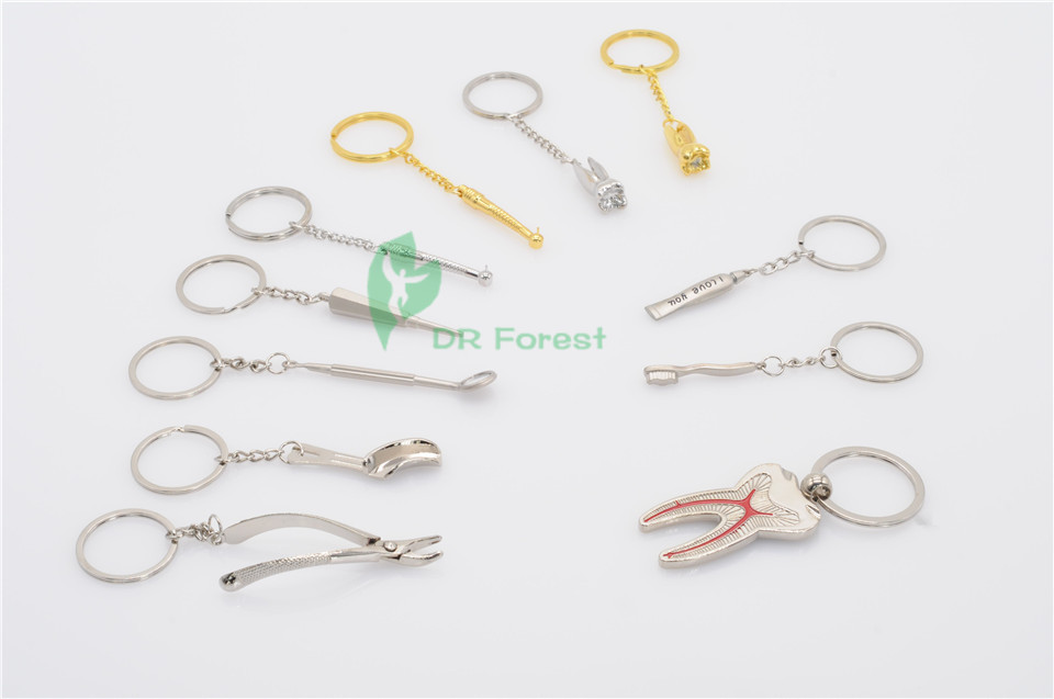 On Sale 11Pcs Dentist AssortedKeychain Key Chain Stainless Steel 11 types