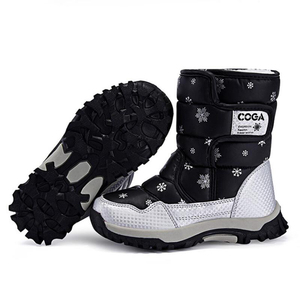 Image 5 - SKHEK bottes de neige imperméables pour filles, bottes dhiver pour enfants, chaussures chaudes en peluche, antidérapantes, couleur bonbon, noir, rouge, violet