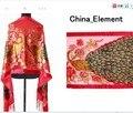 Envío Libre de Las Mujeres Chinas Rojas de Terciopelo de Seda Bordado Con Cuentas Bufanda Del Mantón Peafowl WS-088