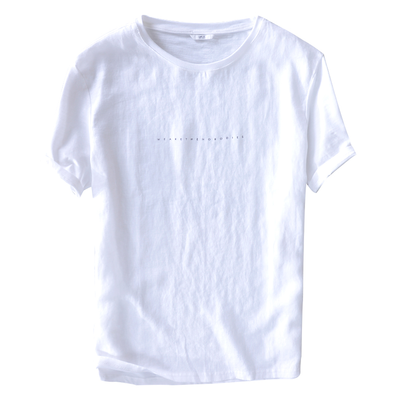 Cotton and linen design mens t shirt summer brand white t-shirt men fashion casual tshirt male tops comfortable camisa chemise