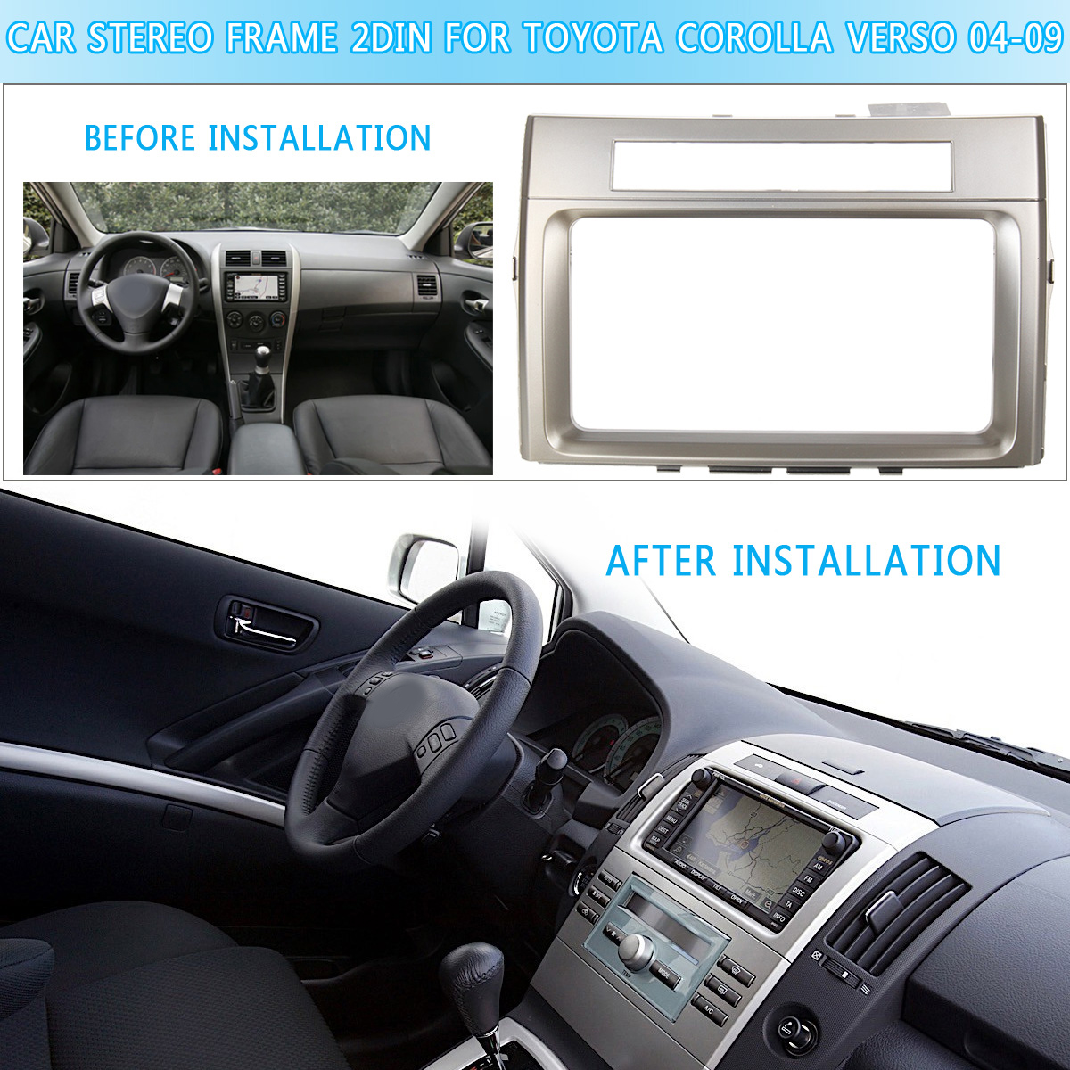 Car CD/DVD Stereo Frame Facia Trim Double-DIN Car For <font><b>TOYOTA</b></font> <font><b>Corolla</b></font> Verso 2004 <font><b>2005</b></font> 2006 2007 2008 2009 Adapter Dash kit image