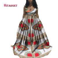 Hitarget 2017 Java Wax Sexy Batik Women African Dashiki Ankara Wax Print Sleeveless Festival Party Long