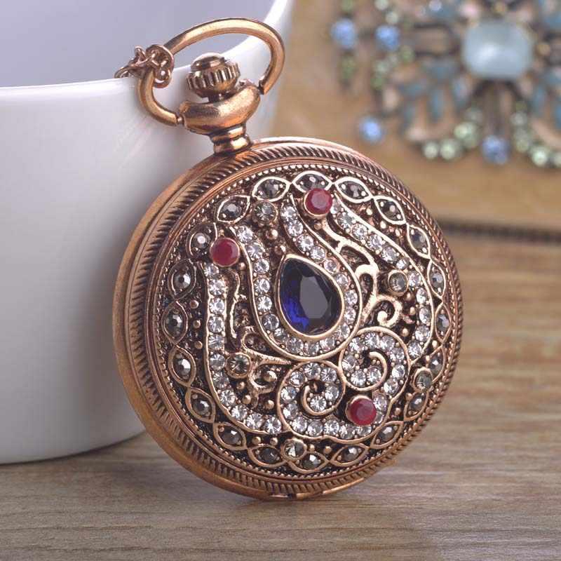 Blucome novo relógio de bolso de quartzo turco colar para mulher resina antigo cor ouro vintage camisola pingente colar bijuterias