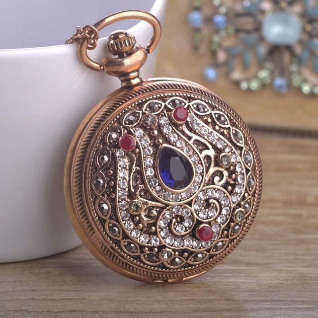 Turkish Quartz Pocket Watch Necklace For Women Resin Antique Gold Plated Exquisite Vintage Sweater Pendant Necklace Bijouterie